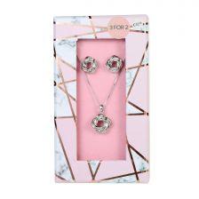 Ladies Twirl Necklace & Earring Set-B