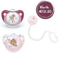 Nuk Soother Bambi Size 2 (6-18 Months) - FREE Baby Rose Soother Chain