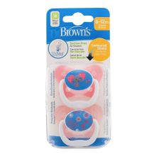 Dr Browns Options Prevent Soother 6-12 Pink