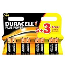 Duracell Plus Power AA Batteries 8 Pack (5+3 free)