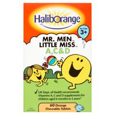 Haliborange Mr Men Little Miss Vitamins A, C and D Orange Chewable Tablets - 60 Pack