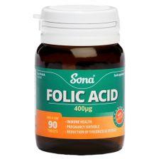 Sona Folic Acid 400mcg  - 90 Tablets