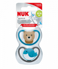NUK Space 2 Pack Silicone Soother - Size 3 -  18 - 36 Months