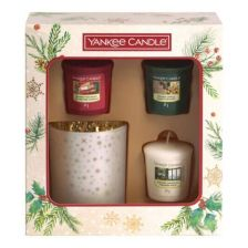 Yankee Candle Magical Christmas Morning 3 Votive Candle and Holder Gift Set