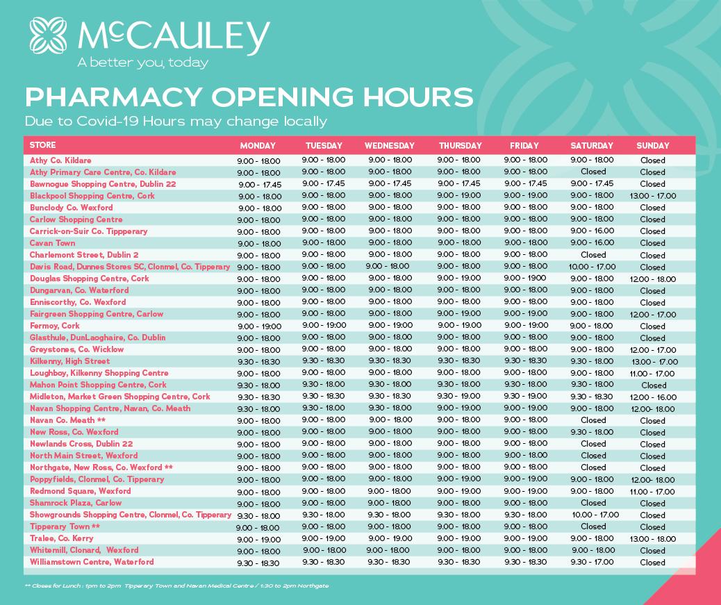 McCauley Health & Beauty Pharmacy Opening Hours